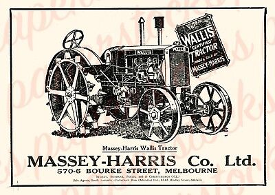 c.1920 MASSEY-HARRIS 'WALLIS TRACTOR' LARGE A3 PRINT AGRICULTURAL ADVERTISING
