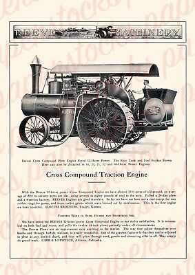 c.1900's REEVES CROSS COMPOUND TRACTION ENGINE #2 VINTAGE ADVERTISING A3 PRINT