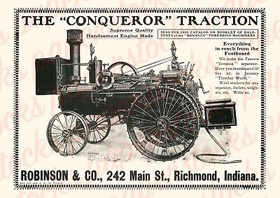 "c.1906 ROBINSON 'THE CONQUEROR"" TRACTION ENGINE ANTIQUE ADVERTISING A3 PRINT"