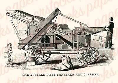 "c.1900's ""THE BUFFALO PITTS"" THRESHER & CLEANER VINTAGE ADVERTISING A3 PRINT"