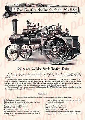 c.1900's J.I. CASE SIMPLE TRACTION ENGINE ANTIQUE ADVERTISING A3 PRINT