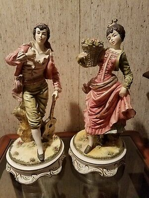 "Large 19.5"" Victorian ceramic pair of Figurines"