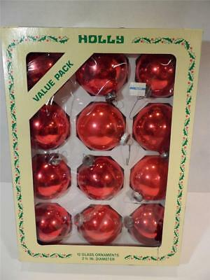 """Vintage Holly 2 5/8"""" Red Glass Ornaments, Set of 12 In Original Retail Box"""