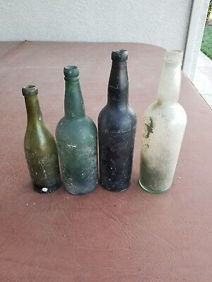 antique 1800s black glass green Whiskey Wine Beer ale bottles lot