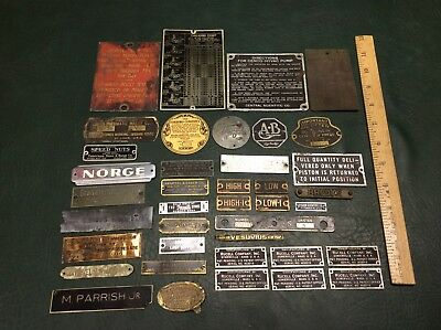 Lot of 40 Vintage Brass Metal Advertising Signs Plaques Labels