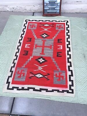 Special Large Antique Native American Indian Navajo Rug Blanket Many Lazy Lines