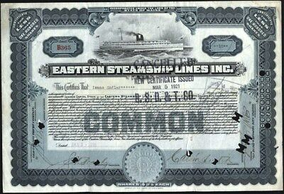 Eastern Steamship Lines, Inc, 1918 Cancelled Stock Certificate