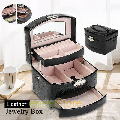 NEW Jewelry Box Organizer Case Ring Earring Necklace Mirror Storage Leather Gift