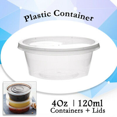 Disposable Plastic Takeaway Sauce Containers 100 Containers + 100 Lids:4 Oz 60ml