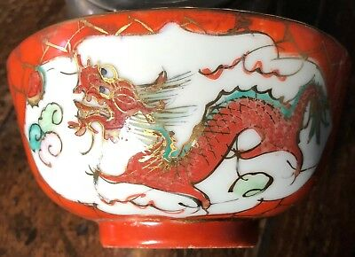 Vintage 1920's Red Porcelain Chinese Dragon and Phoenix Soup Bowl and Spoon