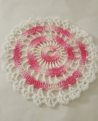 Shady Pink  In White Bumblebee doily Approximately 5 Inches.