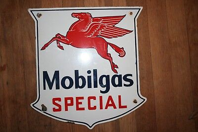 "Original RARE Mobilgas Special Porcelain Sign 13"" x 12 1/2"" **MUST SEE!!**"