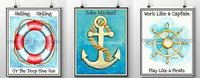 Personalized nursery 3 PRINTS baby room art nautical anchor ship wheel lifesaver
