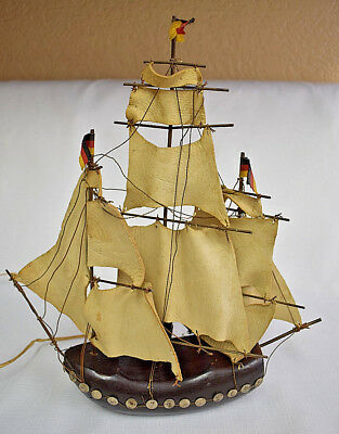 """Vintage Ship Lamp 13.5"""" Hand Crafted Wooden Sailboat w Leather Sails"""