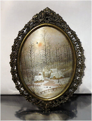Vintage Ornate Miniature Brass Picture Frame with Painted Silk, Made in Italy