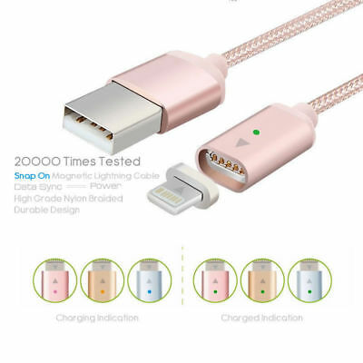 Magnetic Lightning USB Charger Charging Cable Fr Apple iPhone X/8 8 Plus Samsung