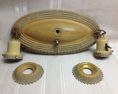 Vintage/Antique Art Deco Flush Mount Ceiling Light Fixture,Double Bulb, Brass