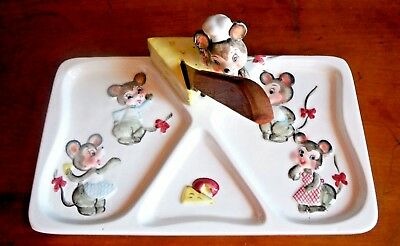 Lefton / Mice Cheese Plate with original knife