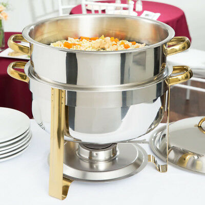 Stainless Steel Choice 14 Qt. Deluxe Round Gold Accent Soup Chafer
