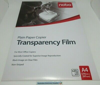 5 x Nobo PP100C OHP Plain Paper Copier Transparency Film 20/Pack free post