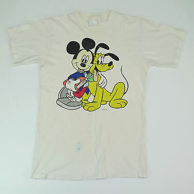 Vintage Mickey Mouse T-Shirt 80s Mickey and Pluto T-Shirt Youth M/L Woman XS