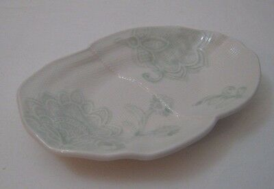 NEW Anthropologie Morning Mist Soap Dish Aqua White Hand Paint Stoneware Floral