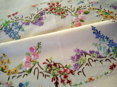 Cottage Garden Circle~ Fence/Gates/Fuchsia+ ~Vintage Hand Embroidered Tablecloth
