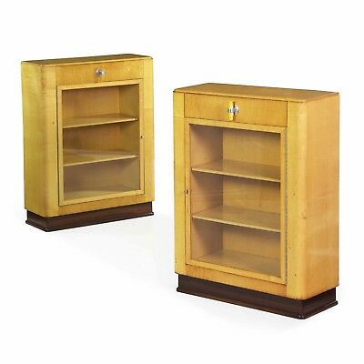 Fine Quality Pair of Art Deco Period Birch, Rosewood and Steel Bookcases