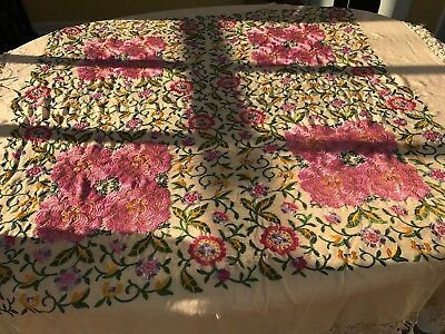 ANTIQUE PIANO SHAWL with FLORAL MEDALLIONS