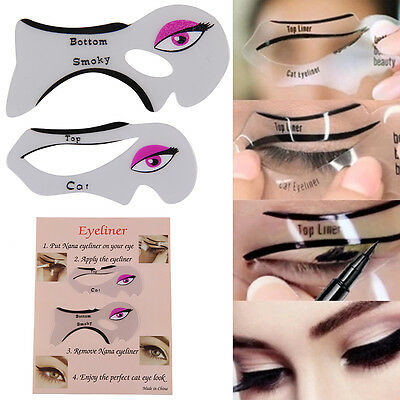 Eyeliner Stencil - Eyeshadow Guide - Smokey Cat -Quick Eye 2 Pcs Makeup Tool Set