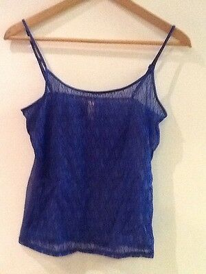 Victoria's Secret Women's Size Large Blue Sheer Camisole Cami Diamond V Top