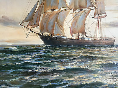 Signed Oil Painting  Ships Sailing Marine 19th