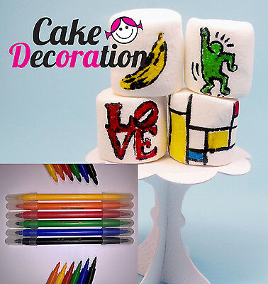 6x EDIBLE PEN WRITER Food Pens Color Marker DOUBLE SIDED Cake Sugarpaste Cupcake