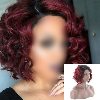 Fashion Women Wine Red Short Curly Party Cosplay Hair Wig Heat Resistant & Net