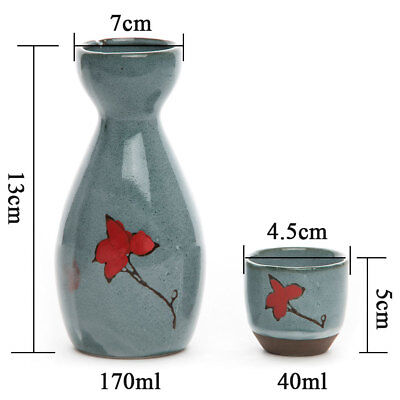 5 Pcs 170 ML Japanese Porcelain Hand Painted Wine Cup Sake Bottle & Cups Set