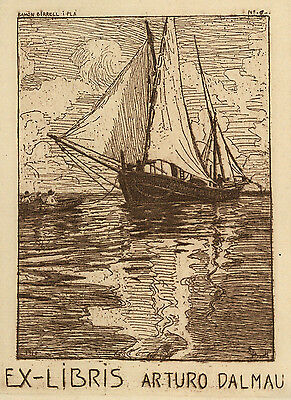 Ramon BORRELL (E) Segelboot Exlibris Dalmau Sailboat Etching C3 1910