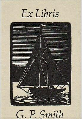 Mark SEVERIN Segelboot Exlibris G. P. Smith Sailboat Wood Engraving X2