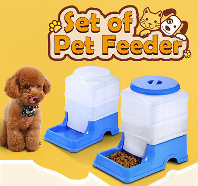 Pet Feeder Automatic Waterer Dog Cat Bird Rabbit Food Water Bowl x 2 set NEW