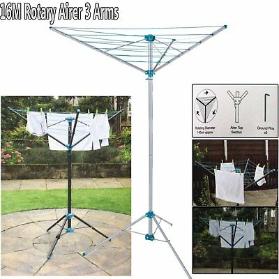 16M Clothes Airer Portable Rotary Washing Line 3 Arm Free Standing Multi Laundry