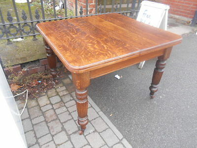 Antique victorian wooden oak wind out extending dining table 1 leaf carved leg