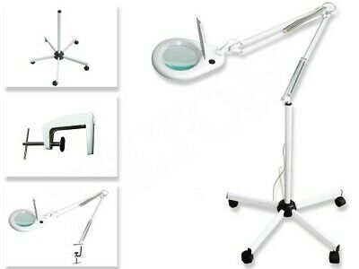 Lampe Loupe 5 Dioptries + Pied A 5 Roulettes + Clamp Eclairage 90 Led Esthetique