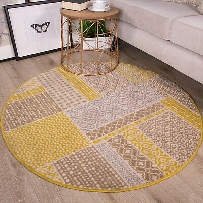 New Yellow Ochre Contemporary Patchwork Circle Rug Modern Traditional Round Rugs