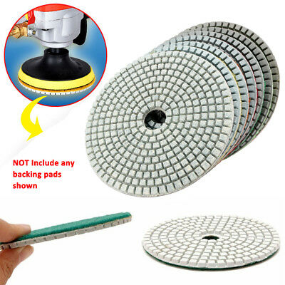 5 inch 125mm Wet Dry Diamond Polishing Pads Concrete Marble Grind Saw Disc 7pcs