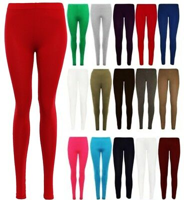 Ladies Plain  Full Length Legging Womens Stretchy Dance Gym Leggings New UK 8-26