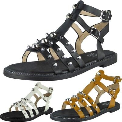 6f559d97168 WOMENS STUDDED GLADIATOR Sandals Ladies Strappy Buckle Flats Low Heel Shoes  Size - EUR 16