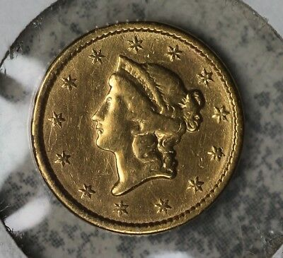 1851 $1 Type 1 US Gold Coin - Damaged