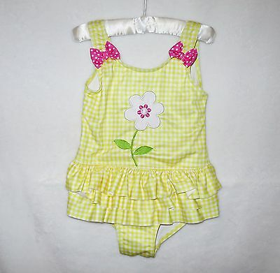Penelope Mack girls yellow white bathing suit flower ruffles summer beach 4T