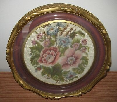 Antique    Wooden Frame Tapestry Picture