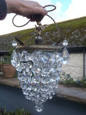 REWIRED Edwardian Antique Crystal And Gilded Cast Brass Bag type Chandelier