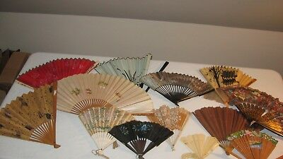 lot of 13 antique vintage hand fans
